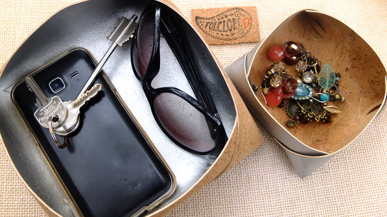 cork leather valet tray in silver, catchall for coins, eco-friendly gifts