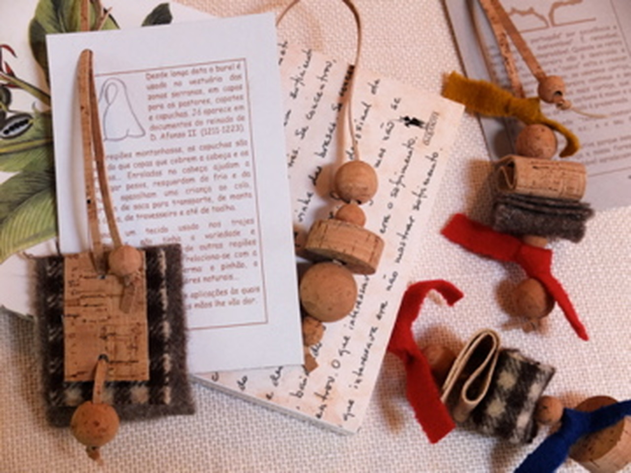 corporate gifts cork beads, cork cord and burel book markers