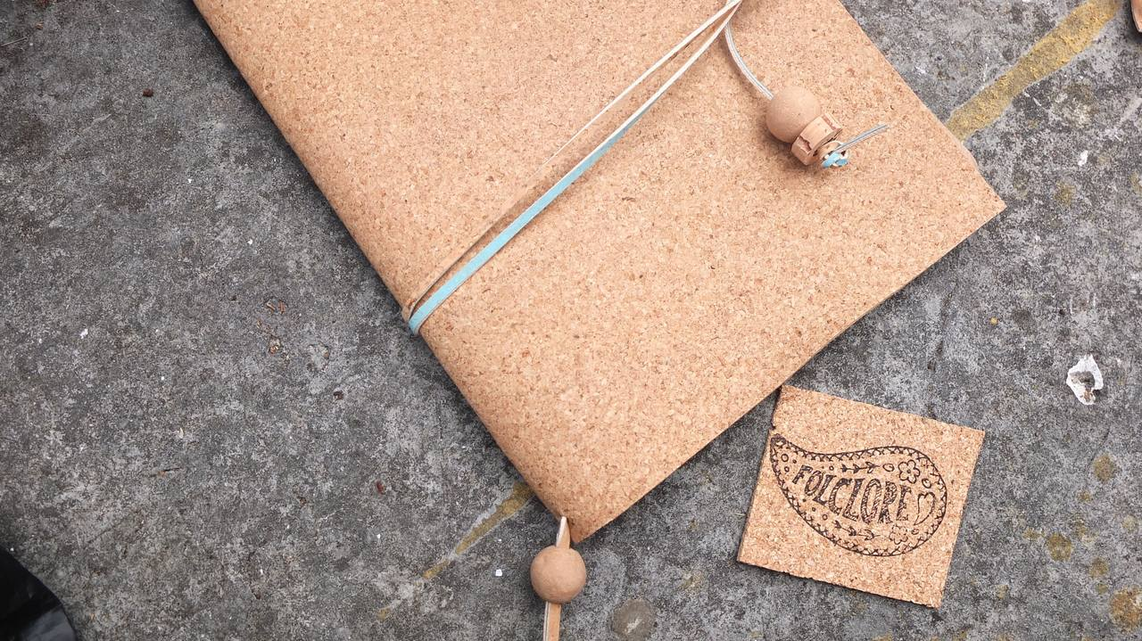 corporate gifts, natural cork leather journal cover with cork strap and cork bead folclorecrafts