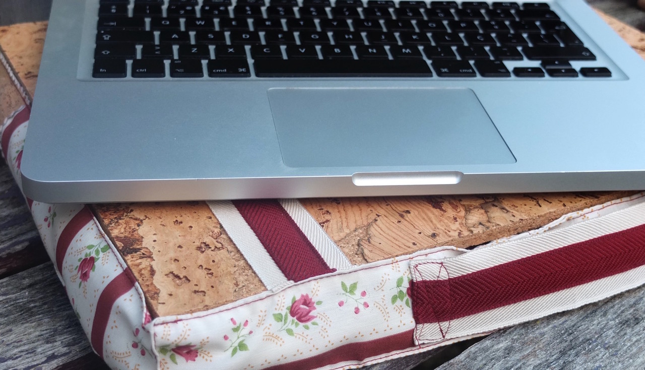 lap desk with cork top and filling and laptop, floral Burgundy, eco-friendly gifts