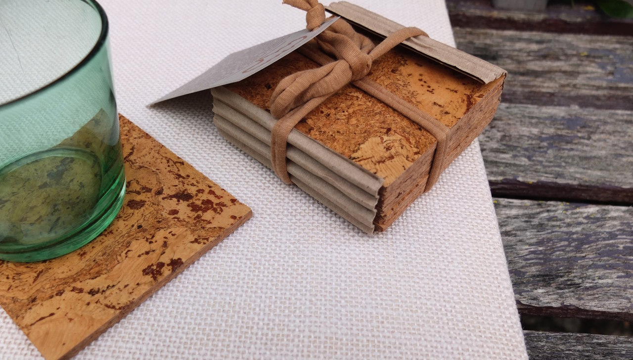 set of cork drink coasters, earth friendly kitchenware and tableware, eco-friendly gifts